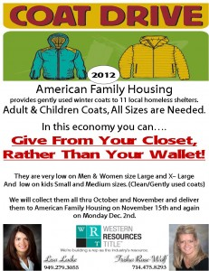 Local Coat Drive For American Family Housing