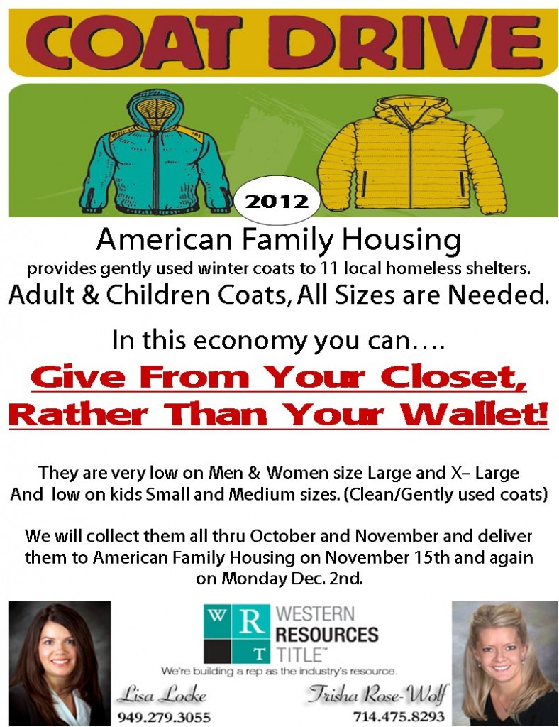 coat drive for american family housing