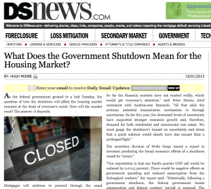 Government Shutdown and Housing market