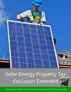 2015 Real Estate Laws: Solar Energy Property Tax Exclusion Extended