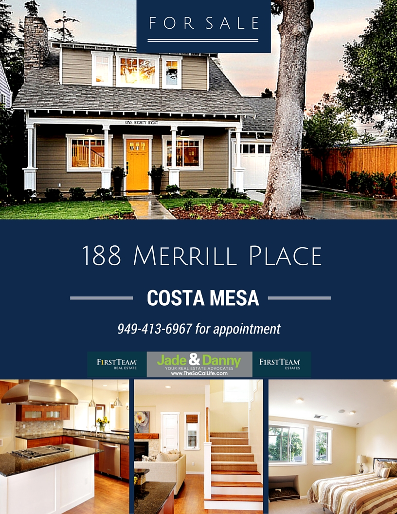 Home For Sale in Costa Mesa: 188 Merrill Place