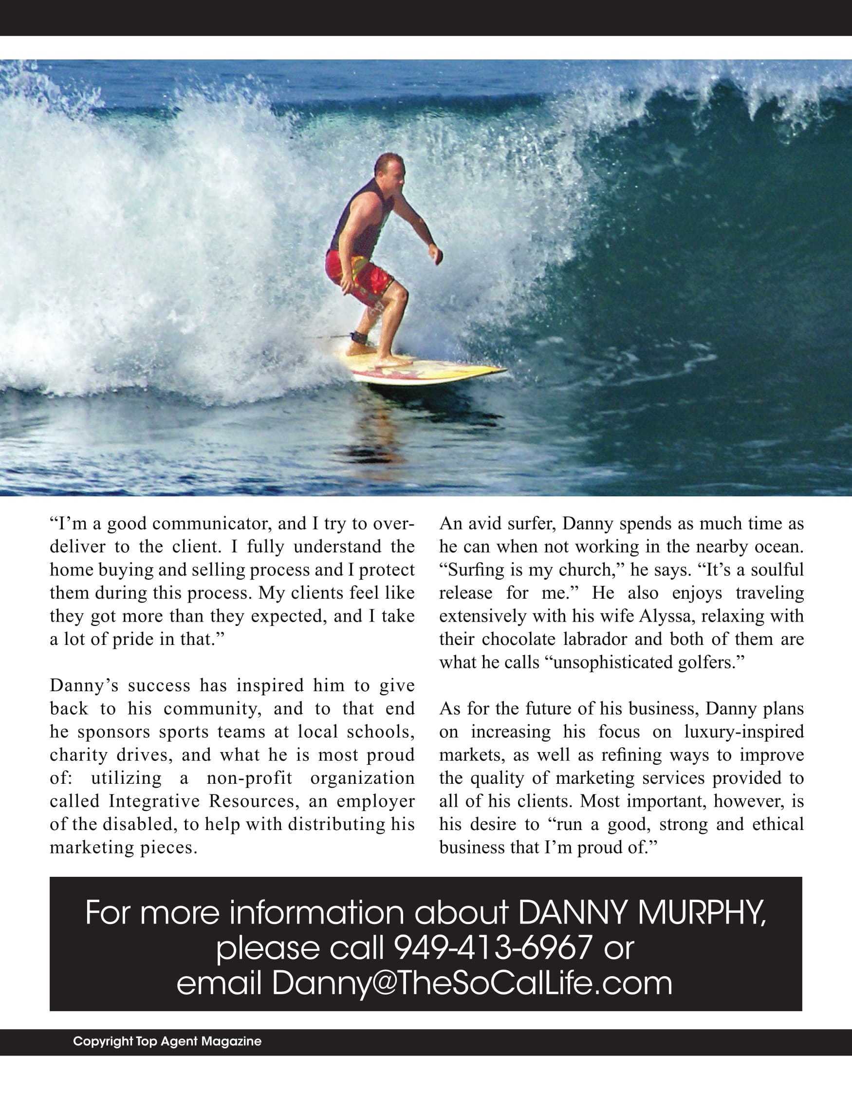 Top Agent Magazine article about Danny Murphy & Associates, top realtor in Newport Beach, Ca