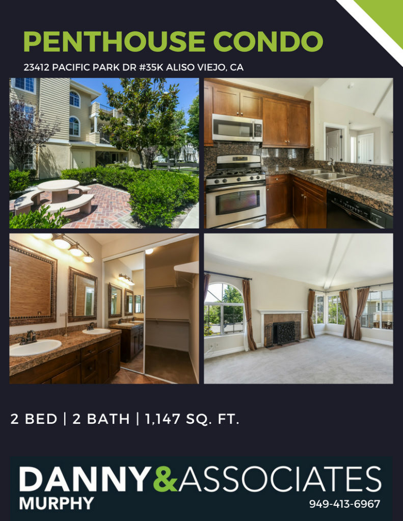 Are you looking for a home for sale in Aliso Viejo? This Penthouse Condo has resort-like amenities and dual master bedrooms. Give Danny Murphy & Associates a call today: 949-413-6967