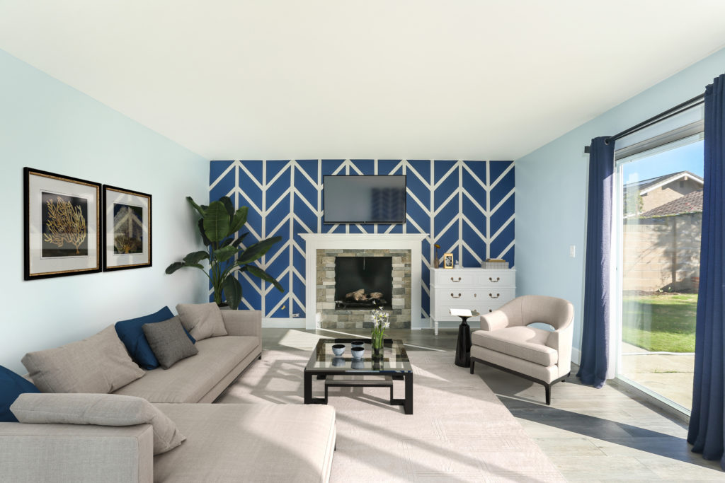 living room with blue and white striped wall